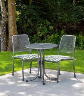 Portofino Round Bistro Set with Side Chairs showing lime stripe cushions