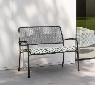 Alexander Rose Portofino Bench showing green stripe cushion
