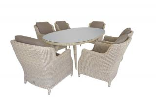 A 2.3m oval Hularo Weave dining set with padded all weather cushions.