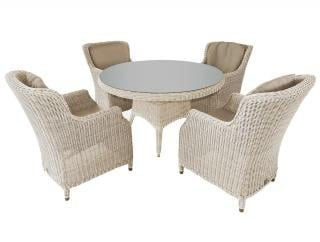 A great Hularo Weave dining set for a garden or patio with padded all weather cushions.