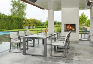 A rectangular aluminium 6 seat set with All Weather SOFT Touch seat pads.