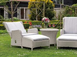 This resin weave Queen Set has two adjustable chairs with footstools & a handy table in White Nature with Mouse Grey cushions.