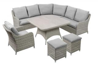 The set is manufactured from premium 7mm half round resin weave in White Nature with Mouse Grey all weather cushions.