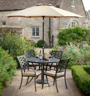 A cast aluminium set with parasol & base finished in Bronze with Amber accessories.