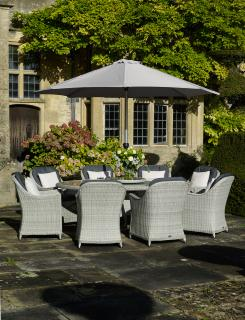 The stylish Monterey 220cm Elliptical Dining Suite for Eight is absolutely stunning for entertaining within the garden.