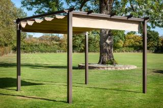 Hartman Cast Aluminium Roma Pergola 3m x 3m in Bronze - Roof closed