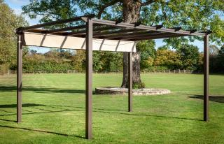 This rectangular aluminium pergola comes in a choice of two bronze or grey.