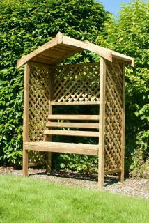 The beautiful Rutland Arbour boasts of not only a comfortable seat for two but also eleven metres of square trellising to support climbing plants.
