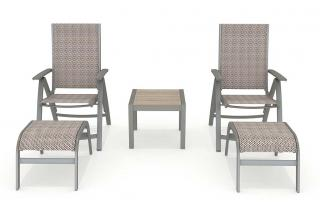 This is a maintenance free aluminium tea for two set with square Duraboard table & footrests.