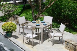 This is a maintenance free aluminium 4 seat set with Duraboard table top.