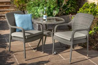 This retro flat weave bistro set is ideal for a small patio or balcony.
