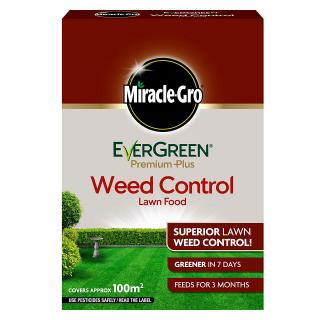 Miracle-Gro EverGreen Premium Plus Weed Control Lawn Food 2kg - 100m2. Greens lawns in 7 days. Lawns stay thicker and greener for up to 8 weeks. Slow release formula.