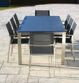 A low maintenance set for eight with a choice of glass or HPL table tops in a range of colours.