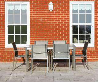 A low maintenance set for six with a choice of glass or HPL table tops in a range of colours.