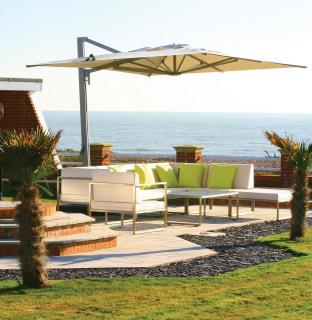 A modular corner set with well padded Sunbrella cushions in a choice of colours.