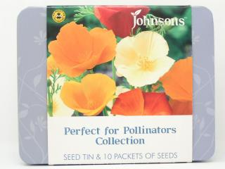 Seed tin with 10 packs seeds.