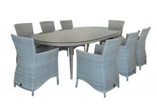 A large family sized 8 seat Hularo oval dining set in a light Provance weave.