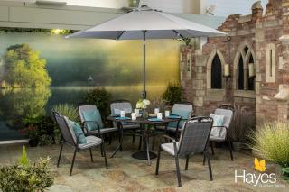 The Siena 6 Seat Round Set is a contemporary set with silver coloured accessories which is durable and maintenance free.