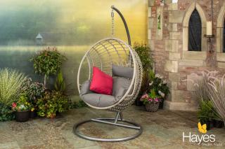 Single Hanging Rattan Cocoon with Cushion in Grey