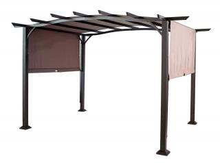 This versatile pergola comes with a bronze finish & a bronze canopy that will slide.