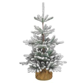 This snowy Feel-Real PE/PVC mix artificial Christmas tree comes ready with a burlap base for display.