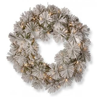 2ft Pre-lit Snowy Bristle Pine Artificial Christmas Wreath