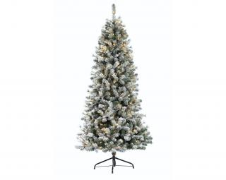 7.5ft Pre-lit Snowy Cone Pine Slim Artificial Christmas Tree