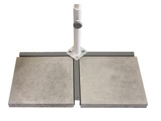 This set consists of two 15kg concrete slabs & the cross base that fits the Flex Roof parasol.