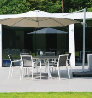 Westminster Code SUNH350/SUNH351. Aluminium swivel & tilt free-arm parasol with base, available in 2 frame colours & 3 canopy colours.
