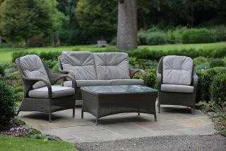 A versatile Hularo Weave lounge suite in Polyloom Taupe with all weather cushions.