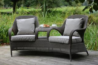 An outstanding Hularo Weave companion set in Polyloom Taupe with all weather cushions in London Taupe.