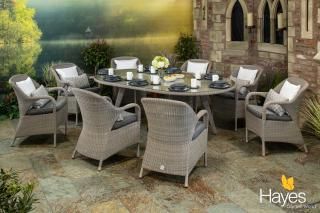 A spacious Hularo Weave dining set in Polyloom Pebble for eight with all weather cushions.