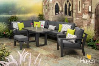This contemporary corner set is made from powder coated aluminium with all weather cushions & a high coffee table.