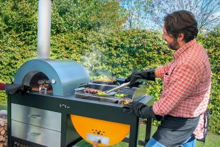 The Alfa Toto Grilloven combines the best of both worlds with a traditional brick oven & BBQ grill with storage space beneath.