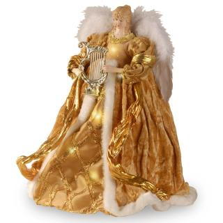 Pre-lit Christmas Angel Tree Topper - Gold