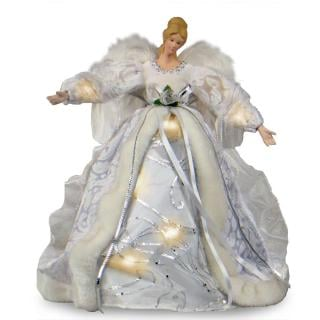 Pre-lit Christmas Angel Tree Topper - White
