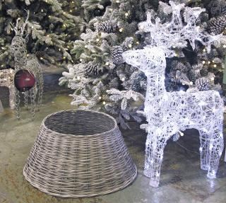 Woven Willow Christmas Tree Ring - Grey 57cm