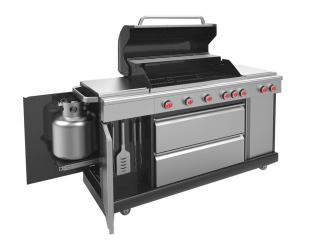 This large family stainless steel 5 Burner Gas BBQ is thee top model of the barbecuing world.