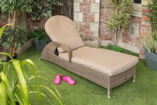 An elegant & comfy Hularo Weave sun lounger in Polyloom Taupe with all weather cushions in London Taupe.