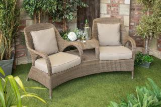 An outstanding Hularo Weave companion set in Polyloom Provance with all weather cushions in London Taupe.