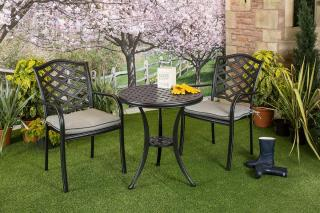 A cast aluminium set which is ideal for a small space, it comes finished in Midnight with Shadow seat pads.