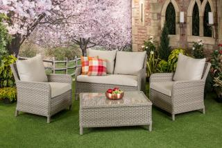 The Geneva Range in the latest range from Bramblecrest. This elegant Two Seater Sofa Set is ideal for the garden or patio.