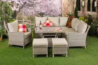 The elegant Geneva Adjustable Corner Suite has a fabulous price tag and is the perfect seating for the garden or patio.