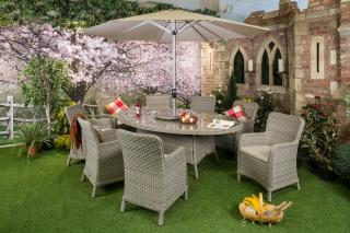 The classic Geneva Eight Seater Set is ideal for al fresco dining and can be left outside all year round.