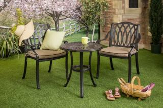 A cast aluminium set which is ideal for a small space, it comes finished in bronze with Amber Weatherready® seat cushions.