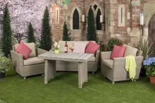 This resin weave, high dining lounge set comes in light brown Taste Olive weave with London Taupe all weather cushions.