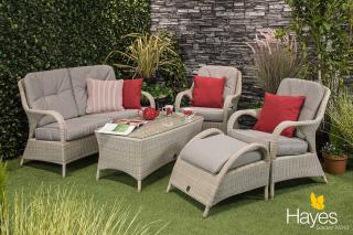 A versatile Hularo Weave lounge suite in Polyloom Provance with all weather cushions.