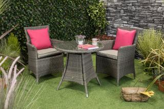 A stunning low maintenance resin weave patio set for two with cushions.