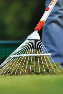 Wolf-Garten multi change Springtine Rake will help collect grass from large areas.