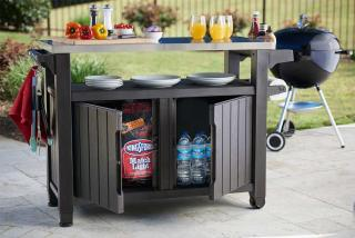 This large double resin & stainless steel barbecue table provides plenty of work space when barbecuing.